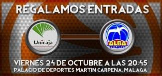 Regalamos entrada doble para el Unicaja-Alba de Euroliga del viernes 24 de octubre