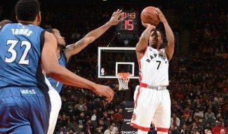Récord anotador en Toronto. Lowry mete 40 puntos con 6 triples ante los Wolves (Vídeo)
