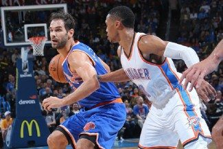 Calderón contiene a Westbrook. Los triples definen el triunfo de los Knicks en Oklahoma (Vídeo)