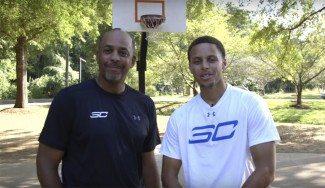 No tiene piedad ni de su padre. Stephen Curry bate a Dell jugando al H-O-R-S-E (Vídeo)