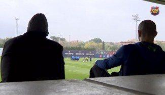 """Samuels y Arroyo, en el entreno del Barça de fútbol. """"Trabajan más de lo que uno piensa"""""""