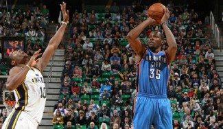 Los Thunder se aferran al factor Durant para derrotar a los Jazz (Vídeo)