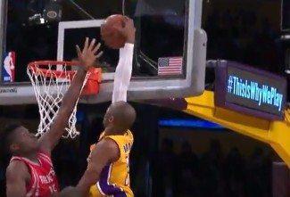 Aún le quedan saltos. Kobe se lleva a casa un poster con el rocket Capela (Vídeo)