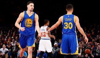 Klay Thompson devuelve a la realidad a los Knicks con 17 puntos en el 2º cuarto (Vídeo)