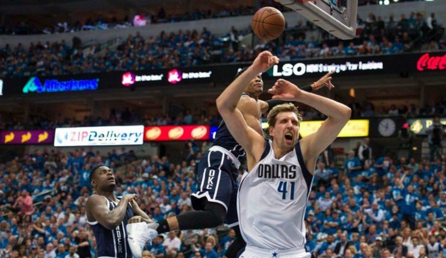 Paliza de OKC en Dallas: gran mate de Durant y taponazo de Westbrook… ¡a Dirk! (Vídeo)