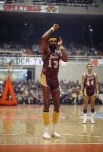 BALTIMORE, MD - CIRCA 1971: Wilt Chamberlain #13 of the Los Angeles Lakers shoots a free throw against the Baltimore Bullets during an NBA basketball game circa 1971 at the Baltimore Civic Center in Baltimore, Maryland. Chamberlain played for the Lakers from 1968-73. (Photo by Focus on Sport/Getty Images)