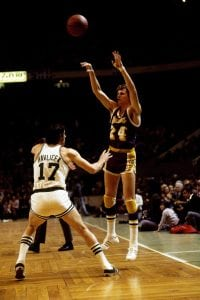 BOSTON - FEBRUARY 7: Keith Erikson #24 of the Los Angeles Lakers passes over John Havlicek #17 of the Boston Celtics during a game played on February 7, 1973 at Boston Garden in Boston, Massachusetts. Boston defeated Los Angeles 113-112. NOTE TO USER: User expressly acknowledges that, by downloading and or using this photograph, User is consenting to the terms and conditions of the Getty Images License agreement. Mandatory Copyright Notice: Copyright 1973 NBAE (Photo by Dick Raphael/NBAE via Getty Images)