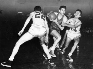 BOSTON - FEBRUARY 24: Ed Macauley, Bob Cousy and Max Zaslofsky. (Photo The Boston Globe via Getty Images)