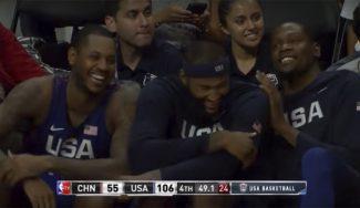 USA Team: risas en el banquillo por un airball de DeAndre y abucheos a Durant y Green (Vídeos)