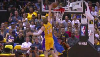 Mozgov rebate la exhibición del Big Three de los Warriors: tapones a Durant y Curry (Vídeo)
