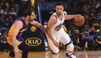 Festival de Warriors ante Lakers: 149 puntos y récord histórico de asistencias (Vídeo)