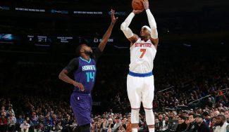 Willy rebotea y Carmelo mete 35 puntos: decide en la prórroga ante Hornets (Vídeo)