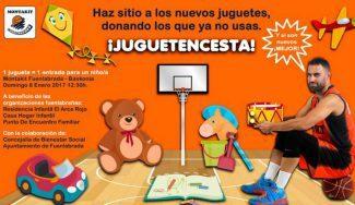 Solidaridad en estado puro: entregando un juguete, entrada infantil para el Fuenla-Baskonia