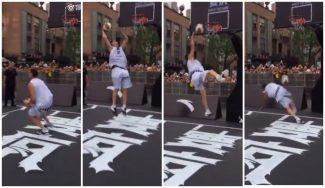 Exhibición en China: Klay Thompson trata de lucirse con un matazo… ¡y se la pega! (Vídeo)