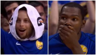 ¿El mate de la temporada? Es de un novato de los Warriors: ¡Curry y Durant flipan! (Vídeo)