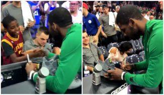 Primer gran partido de Irving con los Celtics… y bonito gesto con un fan de los Cavs (Vídeo)