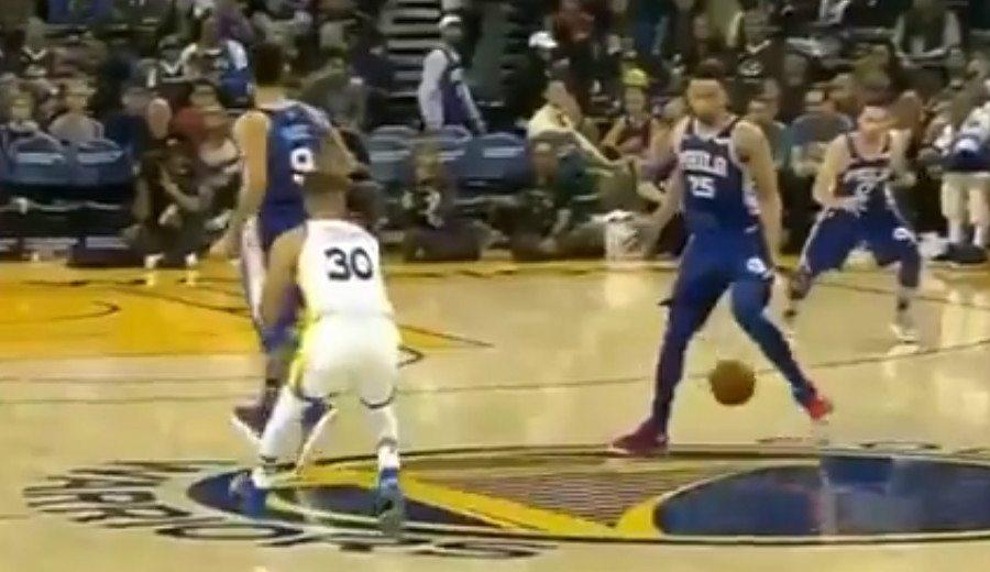 Draymond Green estropea otra maravilla de Curry: asistencia con caño a Simmons (Vídeo)