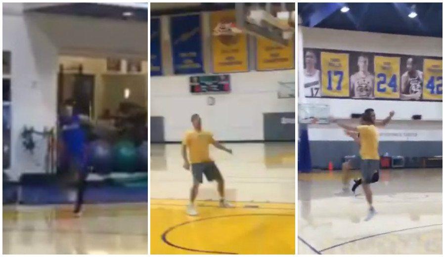 La última genialidad de Curry: triplazo desde su casa en un entreno… ¡¡con el pie!! (Vídeo)