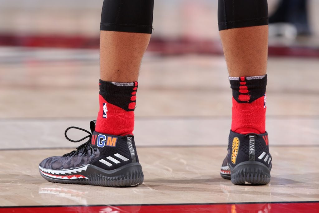 PORTLAND, OR - MARCH 1: Sneakers of Damian Lillard #0 of the Portland Trail Blazers during the game against the Minnesota Timberwolves on March 1, 2018 at the Moda Center in Portland, Oregon. NOTE TO USER: User expressly acknowledges and agrees that, by downloading and or using this Photograph, user is consenting to the terms and conditions of the Getty Images License Agreement. Mandatory Copyright Notice: Copyright 2018 NBAE (Photo by Sam Forencich/NBAE via Getty Images)