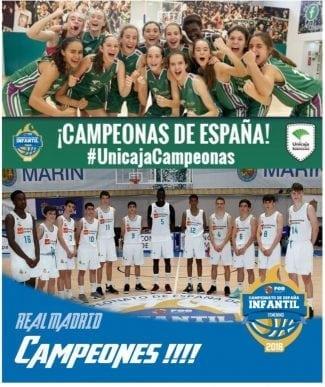 Real Madrid (Masculino) y Unicaja (Femenino) ganan el Campeonato de España Infantil