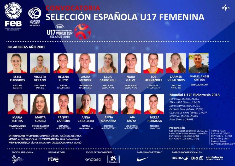 La lista definitiva de la Selección U17 Femenina que disputará la Copa del Mundo de Bielorrusia 2018