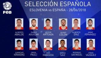 La lista de los 12 jugadores de España para el partido contra Eslovenia
