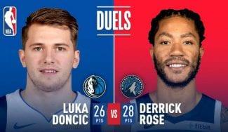 Duelo anotador entre Luka Doncic y Derrick Rose