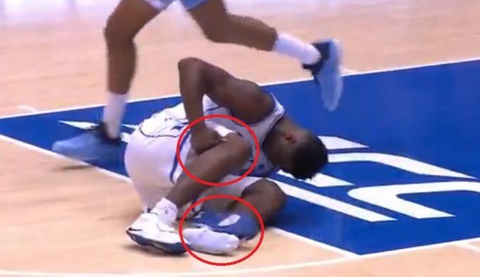 Doble percance de Zion Williamson: rodilla lesionada y zapatilla reventada