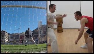 Moussa Diagne y Rafa Luz se retan: fútbol vs. capoeira