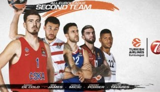 De Colo, James, Micic, Poirier y Tavares, en el segundo cinco ideal