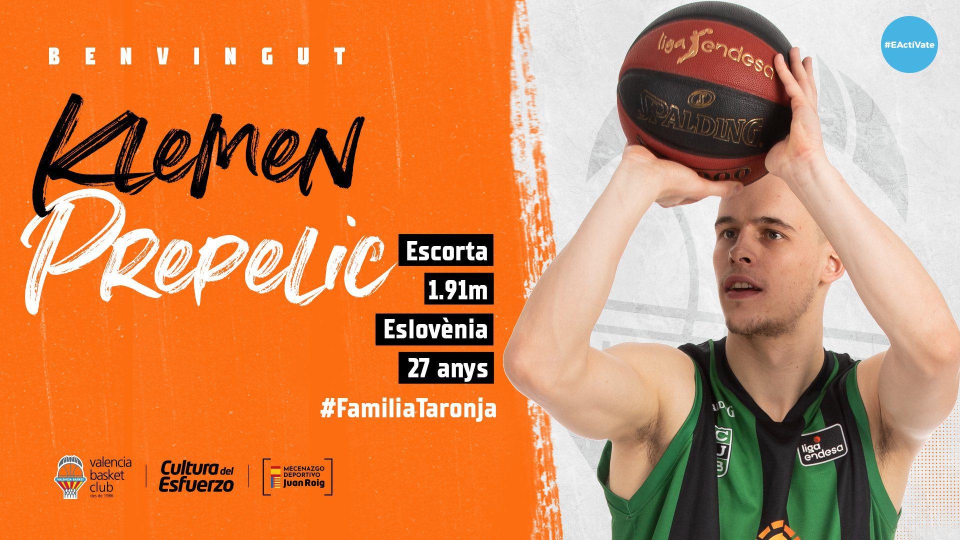 El Valencia Basket anuncia el fichaje de Klemen Prepelic. Así está su plantilla ahora mismo